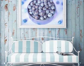 Blueberries Photograph Blue Kitchen Art Vegan Food Photography Fruit in a Bowl Still Life Photo Print