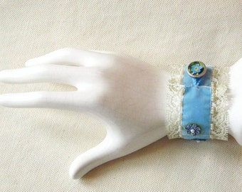 Blue Velvet Cuff, Embroidered Bracelet, Velvet Bracelet, Wrist Cuff Bracelet