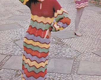 Womens crochet dress long and short lengths vintage crochet pattern pdf INSTANT download 1970s pattern only