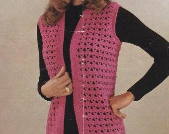 Womens waistcoat PDF vintage crochet pattern sleeveless waistcoat vest jacket pdf INSTANT download pattern only pdf