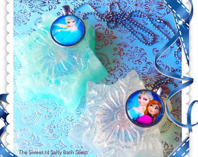 Frozen Inspired Snowflake Soap with Surprise Necklace Inside