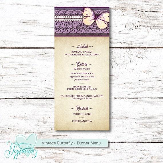 butterfly dinner menu program printable baby shower bridal shower