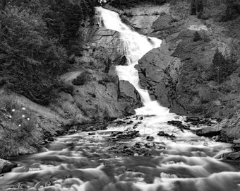 Waterfall Nature, Waterfall Black and White, Woodland Photography, Scenic Landscape, Nature Home Decor