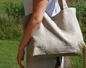 FREE SHIPPING Worldwide - Linen shopping bag - Tote bag - Beach bag - Natural Lithuanian linen - Handmade - Eco-friendly - Market bag