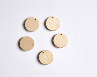 Unfinished wood round - set of 5. Laser Cut Round with Hole. Wooden Earrings Pendant #AUSK010