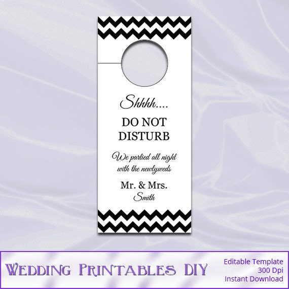 Items Similar To Wedding Door Hanger Template Diy Black Chevron