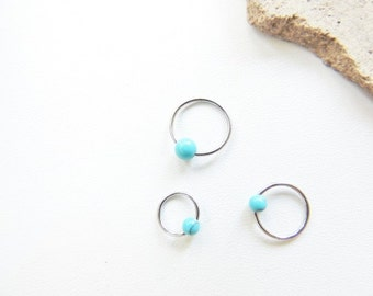 18g 20gTurquoise Cartilage Earring, Cartilage Earrings, CBR Captive Bead Ring, Tragus Rook Conch, Cartilage Ring. 827