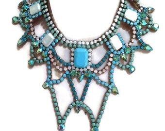SALE 50% off FRESH MINT painted rhinestone necklace