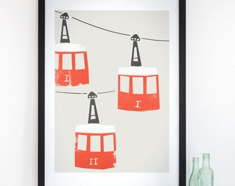 Barcelona Cable Car Print, Print Barcelona, City Wall Art, Red and Black, Romantic Gift, Housewarming Gift, Home City Poster, Spain Wall Art