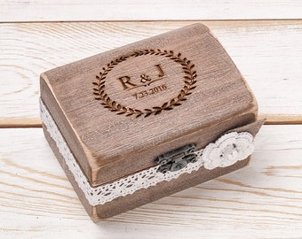 Rustic Ring Bearer Box Wedding Ring Box Shabby Chic Ring Box Country Barn Box Pillow Ring Personalized Ring Box Engraved Box