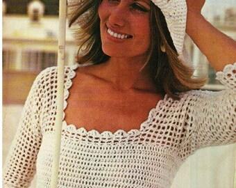 Crochet Pattern Vintage 70s Boho Lacy White Blouse Top Blouse-Bohemian Clothing Retro-Crochet Top Pattern-pdf file- Vtg DIY