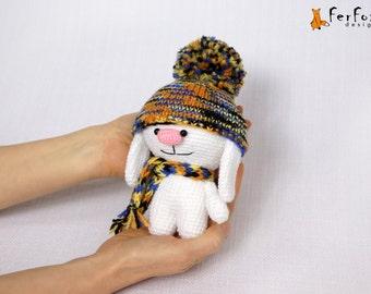 White bunny, stuffed rabbit, crocheted bunny, crochet animal, amigurumi, winter rabbit  - Bryan the Rabbit