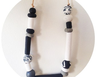 Cindy - Black and White Polymer Clay Bead Necklace