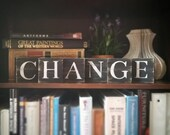 Change Sign, Change Art, Change Tile Letters, Change Wall Decor, Wooden Letter Blocks, Wood Letter Tiles, Shabby Chic Sign Set, Gift Idea