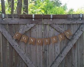 Congrats Banner, Congratulations Burlap Banner, Congrats Bunting, Graduation Banner, Engagement Party, Promotion Party, Congratulations
