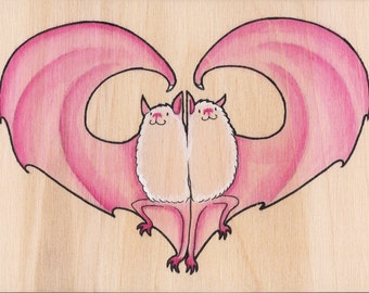 Batty for You - painting on wood panel