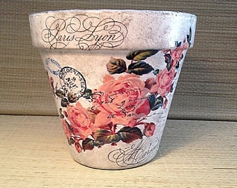 Valentine's Day Sale, Rose Planter Cache Pot, Country Farmhouse Paris Post Card French Painted Flower Pot, Hostess, Birthday or Wedding Gift