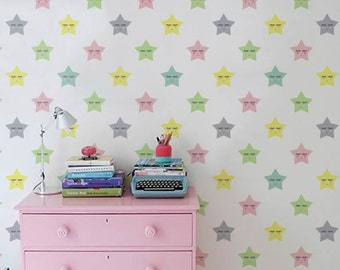 Little star Self adhesive wallpaper - PEEL and STICK vinyl Nursery wallpaper - Cute Star pattern - OLB_021