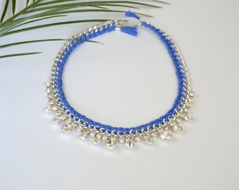 Electric blue braided necklace