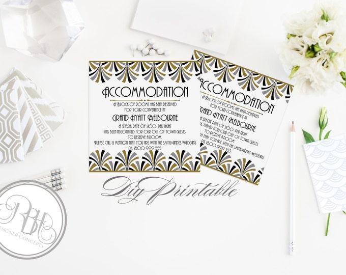 "Art Deco Wedding Information Card-INSTANT DOWNLOAD-Template-Black & Gold Art Deco Design - ""Bridgette Information/Accommodation Cards"""