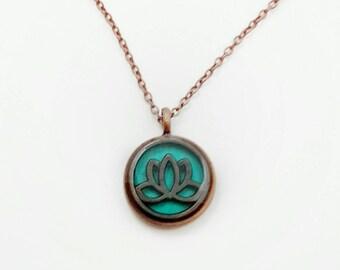 Lotus flower necklace / lotus flower jewelry / spiritual jewelry / copper necklace / copper jewelry / teal jewelry / lotus flower pendant