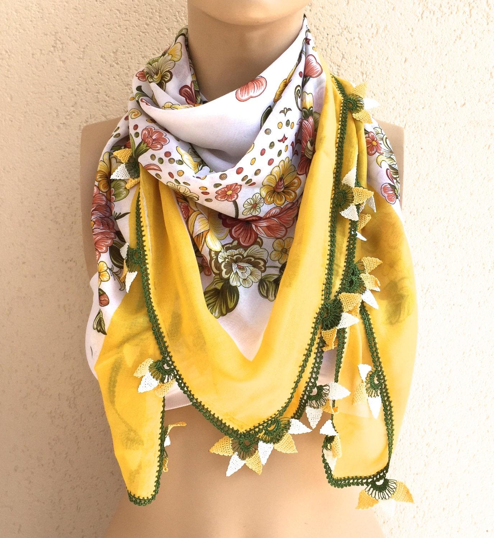 vintage turkish scarf yemeni needle lace handmadepure