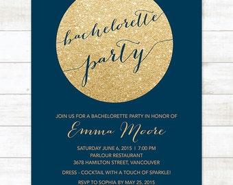 gold glitter navy bachelorette party invitation, navy gold glitter printable modern stagette party digital invite customizable