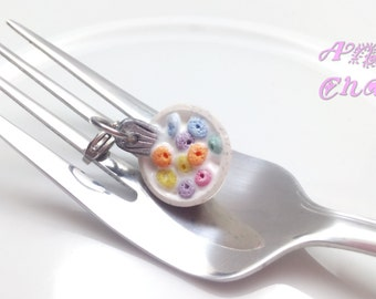 Bowl of Cereal Charm, Fruit Cereal, Miniature Food Jewelry, Breakfast Charm