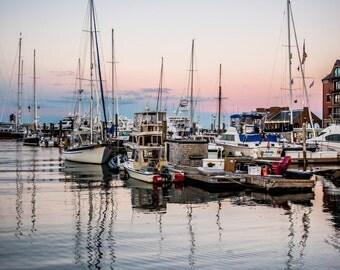 Boston Waterfront Sailboat Sunset Reflection Photo Print 8x10, 11x14, 16x20 or canvas
