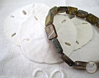 Amber Czech Rectangle Glass Beads Gold Rectangle Glass Beads Amber Gold Rectangle Amber Rectangle Gold Beads 12x8mm (10pcs) 144V3
