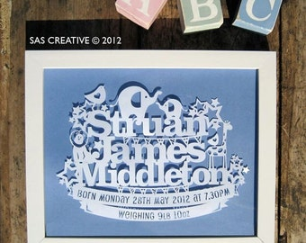 Personalised Papercut Template Baby Boys Birth Announcement Gift by Samantha's Papercuts