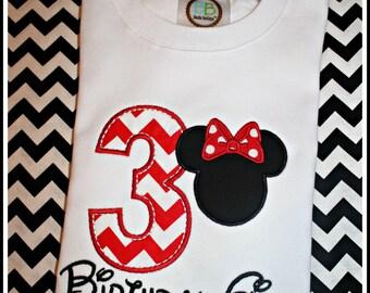Minnie 3rd Birthday Shirt~Any Age~ Short Sleeve Shirts.