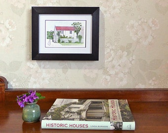 Historic house note card, cottage decor, housewarming, welcome to your new home, ink and watercolour art print to frame, NZ architecture