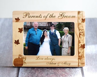 Wedding Gift Parents of the Bride Frame Engraved - Keepsake Rustic Parents of the Groom, personalized gift, Rustic wedding frame, woodland