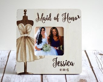 Personalized Maid of Honor Frame Custom Wedding Frame- Bridesmaid gifts- Maid of Honor Gifts- Wood Burned Frame- Rustic Wedding Frame