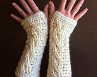 Crochet Fingerless Glove Pattern - Fireside Fingerless Gloves - Cable Crochet Wrist Warmer, Arm Warmer Tutorial - Instant Download!
