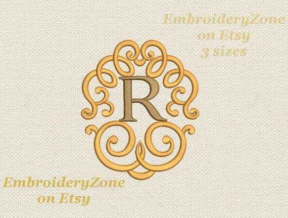 Monograma letra R con rizo marco máquina bordado diseño remolino y ...