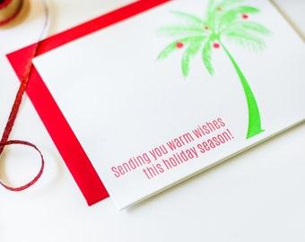 Warm Wishes Holiday Season Palm Tree Letterpress Card