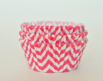 Chevron Pink Cupcake Liners // Pink Chevron Baking Cups (Qty 50)