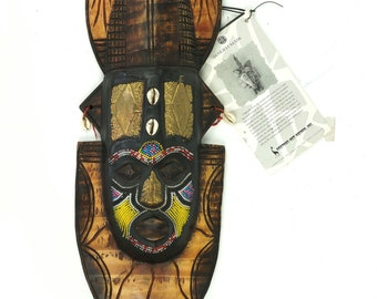 Vintage Ghana African Wooden Senufu Mask Africa Art Hand Made Wall Hanging Beads Shells Encrusted