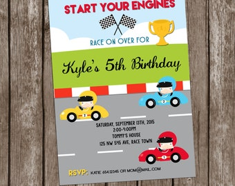 Race Car invitation Birthday, Racing invitation Party Personalized Printable,Boys Race Car Birthday, Printable