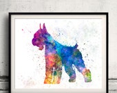 Giant Schnauzer 01 in watercolor - Fine Art Print Glicee Poster Decor Home Watercolor Gift Illustration Wall Dog Giant Schnauzer - SKU 1177
