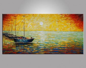 Large Painting, Abstract Oil Painting, Sail Boat Sunrise Painting, Canvas Painting, Original Painting, Abstract Art, Heavy Texture Painting