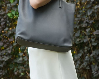 20% OFF SALE - Medium Grey Leather Tote Bag – Handmade Medium Size Leather Tote