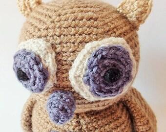Big amigurumi owl handmade crochet doll - READY TO SHIP -