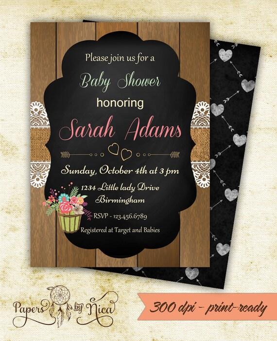baby shower invitation burlap lace invitation chalkboard invitation