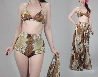 Vintage 50s bikini sarong set, pinup bikini xs S small swim coverup wrap Hawaiian dress, 1960s 60s 1950s swimsuit retro high-waisted bikini
