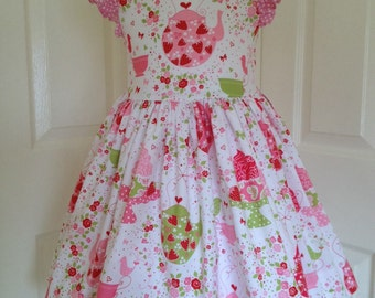 Girls party dress, Michael Miller Strawberry Tea Party, fully lined, age 4
