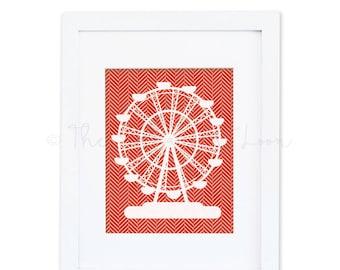 Red geometric herringbone print ferris wheel carnival fair children 8x10 digital printable wall art print