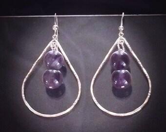Amethyst Earrings, Gemstone Earrings, Sterling Silver Earrings, Gemstone Teardrop Earrings, Purple Dangle Earrings, Handmade Jewelry